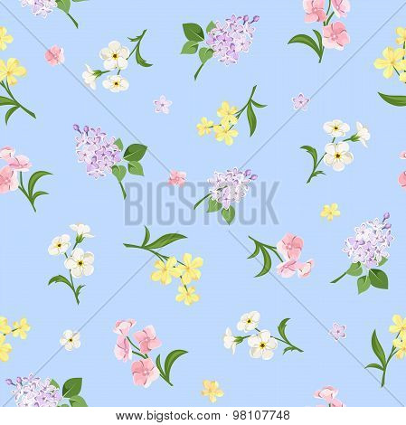 Seamless pattern with colorful flowers on blue. Vector illustration.