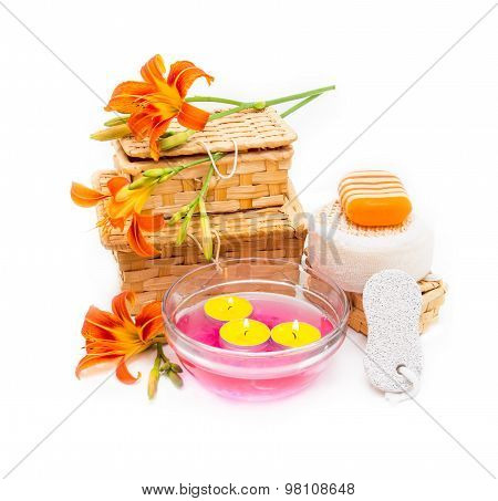 Orange Lily Flowers, Boxes, Sea Salt, Candles, Soap  And Objects For Spa Procedures