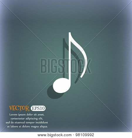 Musical Note, Music, Ringtone Icon Symbol On The Blue-green Abstract Background With Shadow And Spac