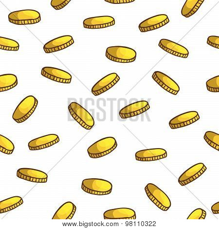 Seamless cartoon pattern of gold coins. Vector.