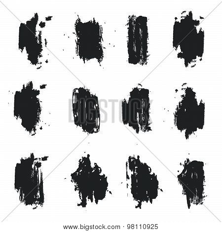 A set of monochrome grunge spots. Ink, paint, graffiti. Good for backgrounds, banners, posters. Vect