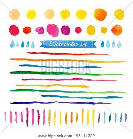 Set of watercolor elements. Collection of spots, lines, drops. Multicolored. Vector.