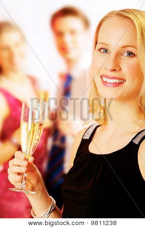 Lady With Champagne