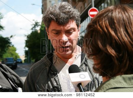 Politician Boris Nemtsov Interviewed Outside The Courthouse, Where The Trial Of Mikhail Khodorkovsky