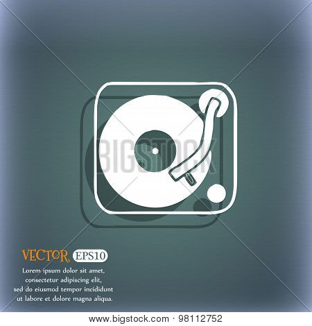 Gramophone, Vinyl Icon Symbol On The Blue-green Abstract Background With Shadow And Space For Your