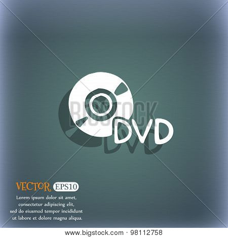 Dvd Icon Symbol On The Blue-green Abstract Background With Shadow And Space For Your Text. Vector