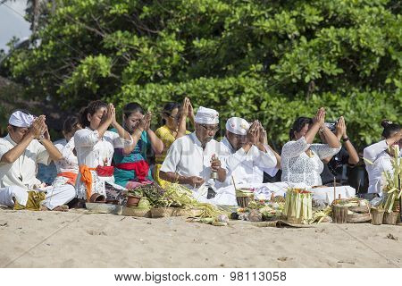 Balinese People To Worship On The Beach, Indonesia