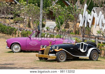 Two Retro Cars. Pai, Thailand