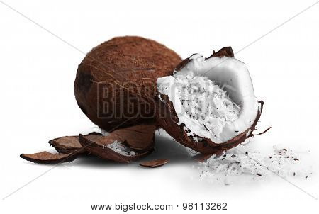 Coconut shavings in coconut isolated white