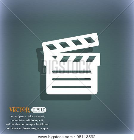 Cinema Clapper Icon Symbol On The Blue-green Abstract Background With Shadow And Space For Your Text