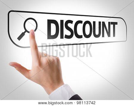 Discount written in search bar on virtual screen