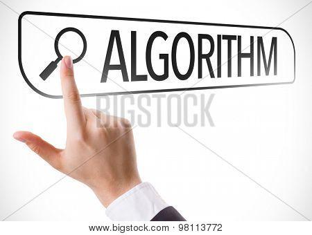 Algorithm written in search bar on virtual screen