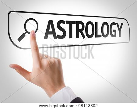 Astrology written in search bar on virtual screen