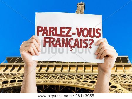 Do You Speak French? (in French) card with Eiffel Tower on background