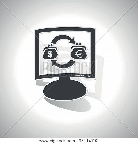 Curved dollar-euro trade monitor icon