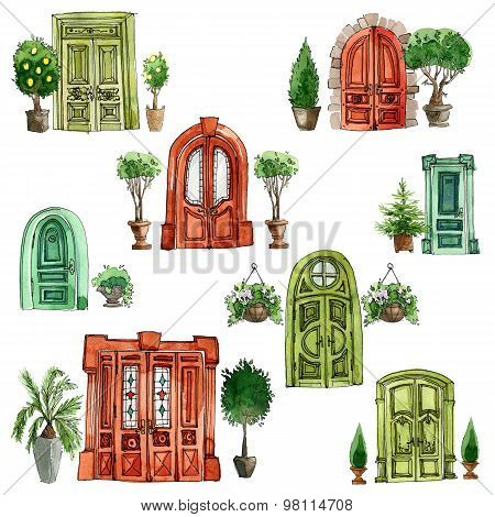 Doors and plants, set, watercolor and ink.