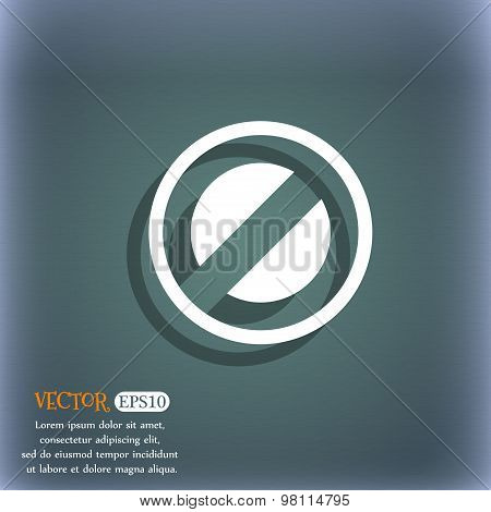 Cancel Icon Symbol On The Blue-green Abstract Background With Shadow And Space For Your Text. Vector