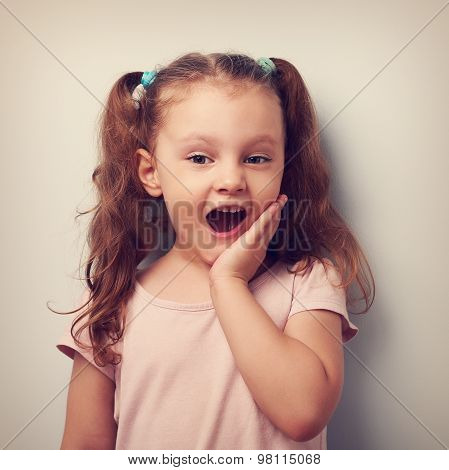 Surprising Fun Girl Looking With Open Mouth. Vintage Closeup Portrait