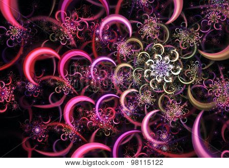 Illustration Abstract Fractal Background With A Floral Design