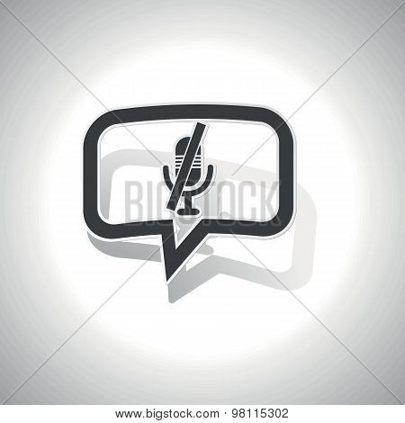 Curved muted microphone message icon