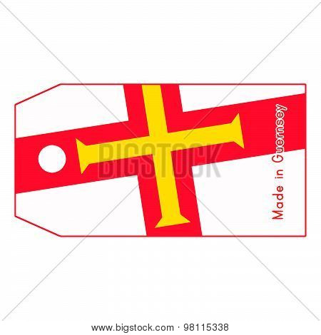 Guernsey Flag On Price Tag With Word Made In Guernsey Isolated On White Background.