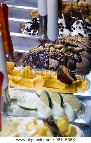 Italian ice cream. Trays italian gelato