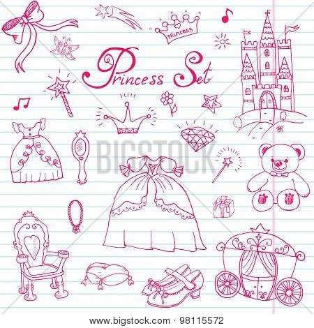 Hand Drawn Vector Illustration Set Of Princess Sign, Castel, Throne And Carriage, Magic Wand, Mirror