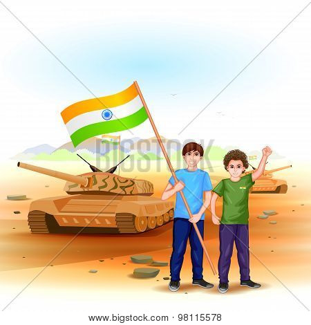 People with Indian flag