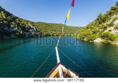 Boat on Krka river in Croatia