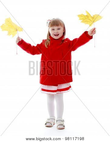 Girl with maple leaf