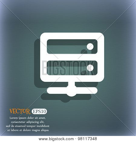 Server Icon Symbol On The Blue-green Abstract Background With Shadow And Space For Your Text. Vector