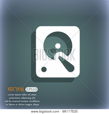 Hard Disk Icon Symbol On The Blue-green Abstract Background With Shadow And Space For Your Text. Vec