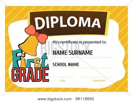 child diploma or certificate to be awarded to the first graders at school
