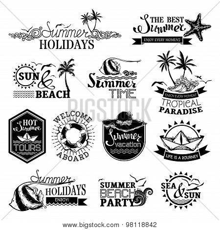 Vector Set Of Summer And Travel Designs.