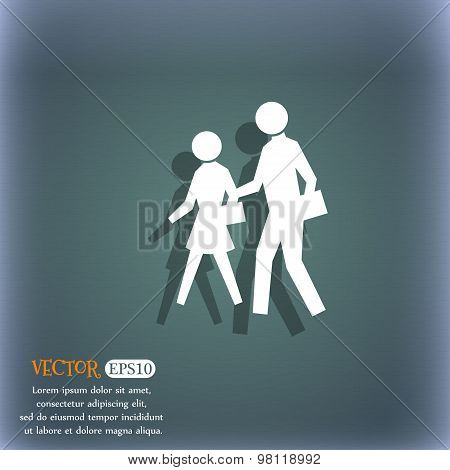 Crosswalk Icon Symbol On The Blue-green Abstract Background With Shadow And Space For Your Text. Vec