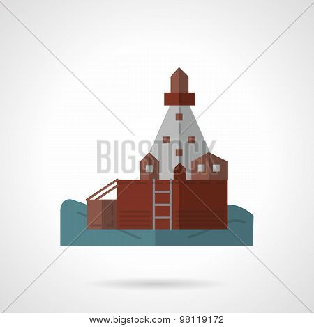 Sea pier flat vector icon