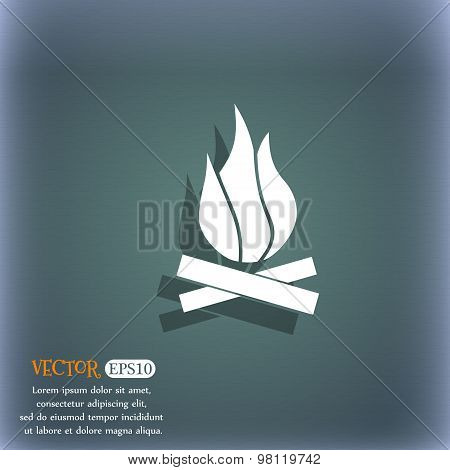 A Fire Icon Symbol On The Blue-green Abstract Background With Shadow And Space For Your Text. Vector