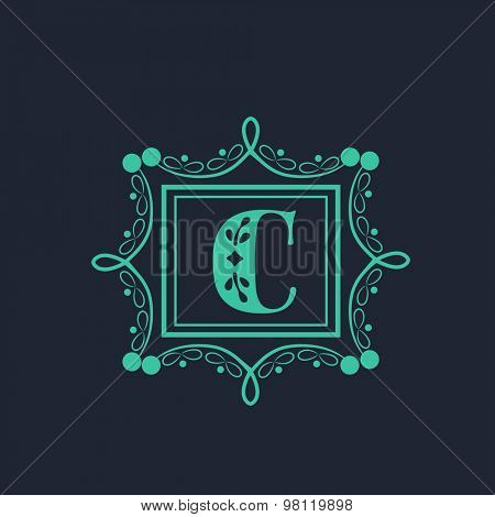 Creative floral design decorated frame with English Alphabet C on blue background for premium monogram.