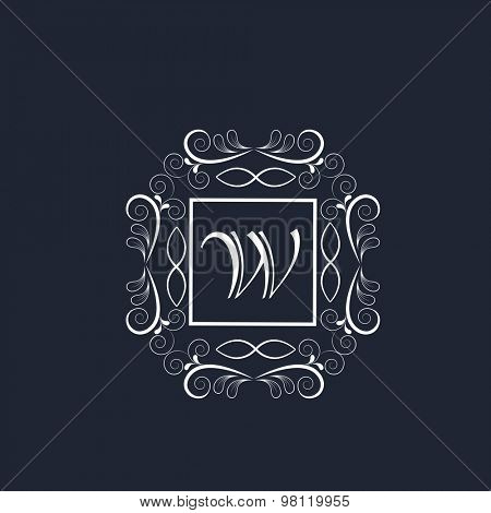 Stylish English Alphabet W in floral design decorated frame for premium monogram on blue background.