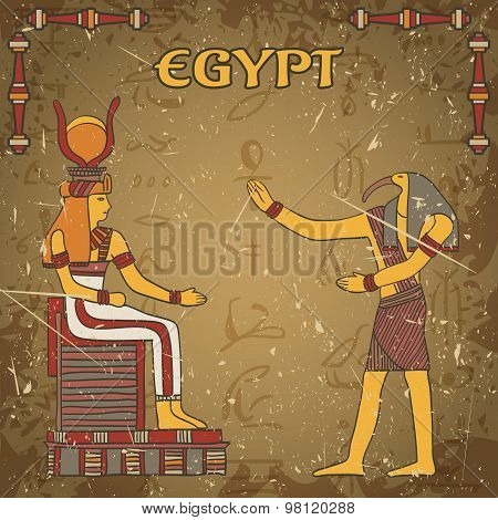 Vintage poster with egyptian god and pharaoh on the grunge background with silhouettes of the ancien