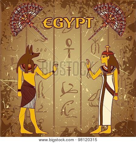 Vintage poster set with egyptian god, pharaoh and fan on the grunge background with silhouettes of t