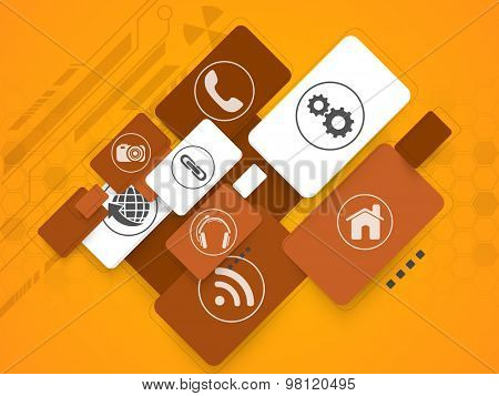 Shiny web icons or symbols on abstract hi-tech orange background for Technology concept.