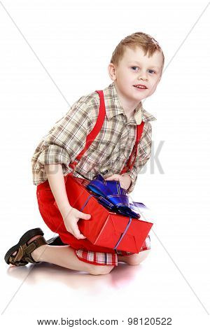 boy with a gift in hands