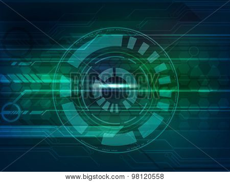Abstract technology circle on shiny blue and green hi-tech background.