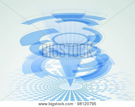 Creative hi-tech abstract pattern on blue background for Technology concept.