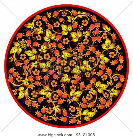 The traditional Russian floral pattern on black background. Khokhloma, vector illustration.