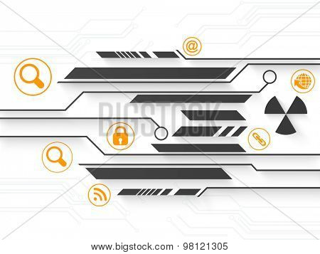 Creative hi-tech background with different web icons on shiny background.