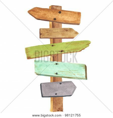 Watercolor wooden signpost