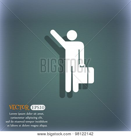Tourist Icon Symbol On The Blue-green Abstract Background With Shadow And Space For Your Text. Vecto