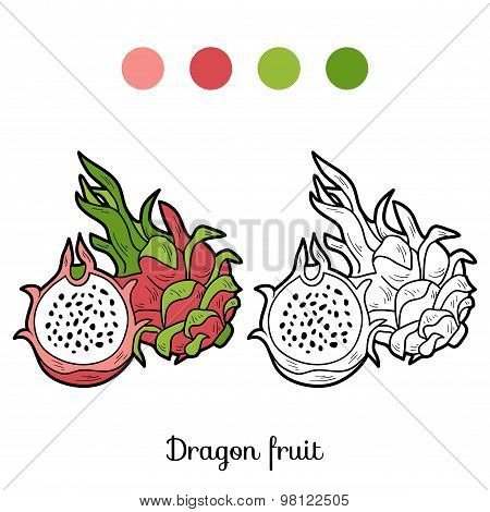 Coloring Book Game: Fruits And Vegetables (dragon Fruit)